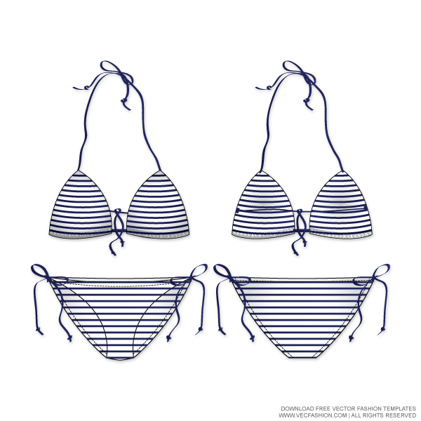 Tec drawing swimwear. Women nautical striped swim