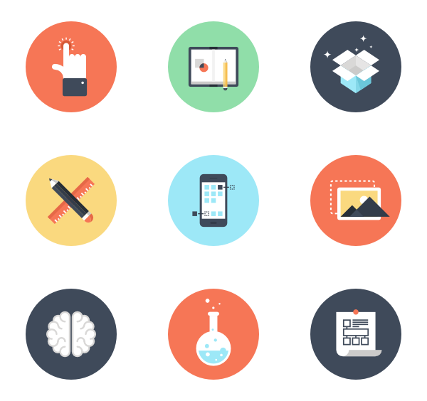 Printing vector graphic designing. Processing icon packs