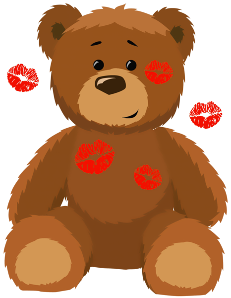 Teddy bear clip art png. Cute with kisses clipart