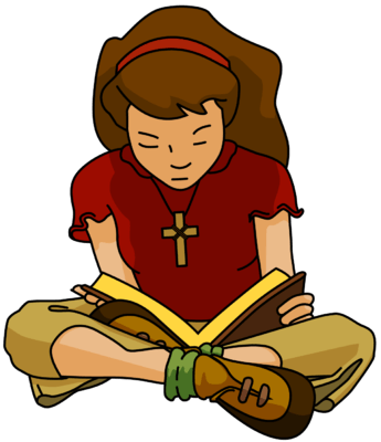 Reading transparent girl. Cute teenager clipart clip