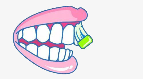 Teeth clipart front tooth. Cartoon gums illustration the