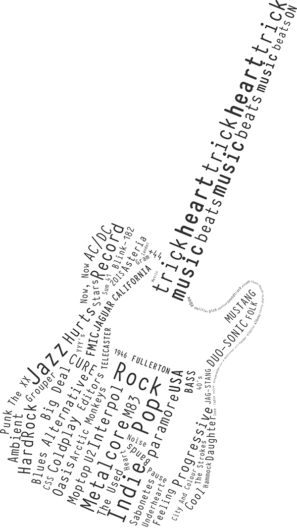 Typographic drawing guitar. Typography fender telecaster on