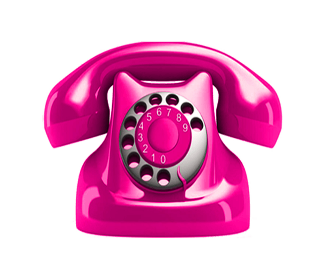 Telephone transparent background. Pink image picture with