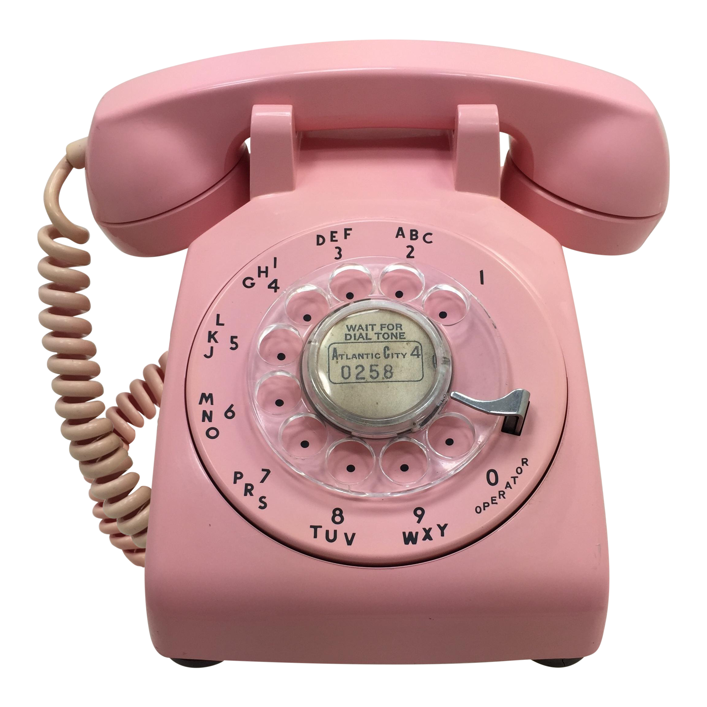 Telephone transparent pink. Date matched rotary dial