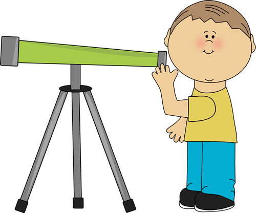 Black and white boy. Telescope clipart clip art stock