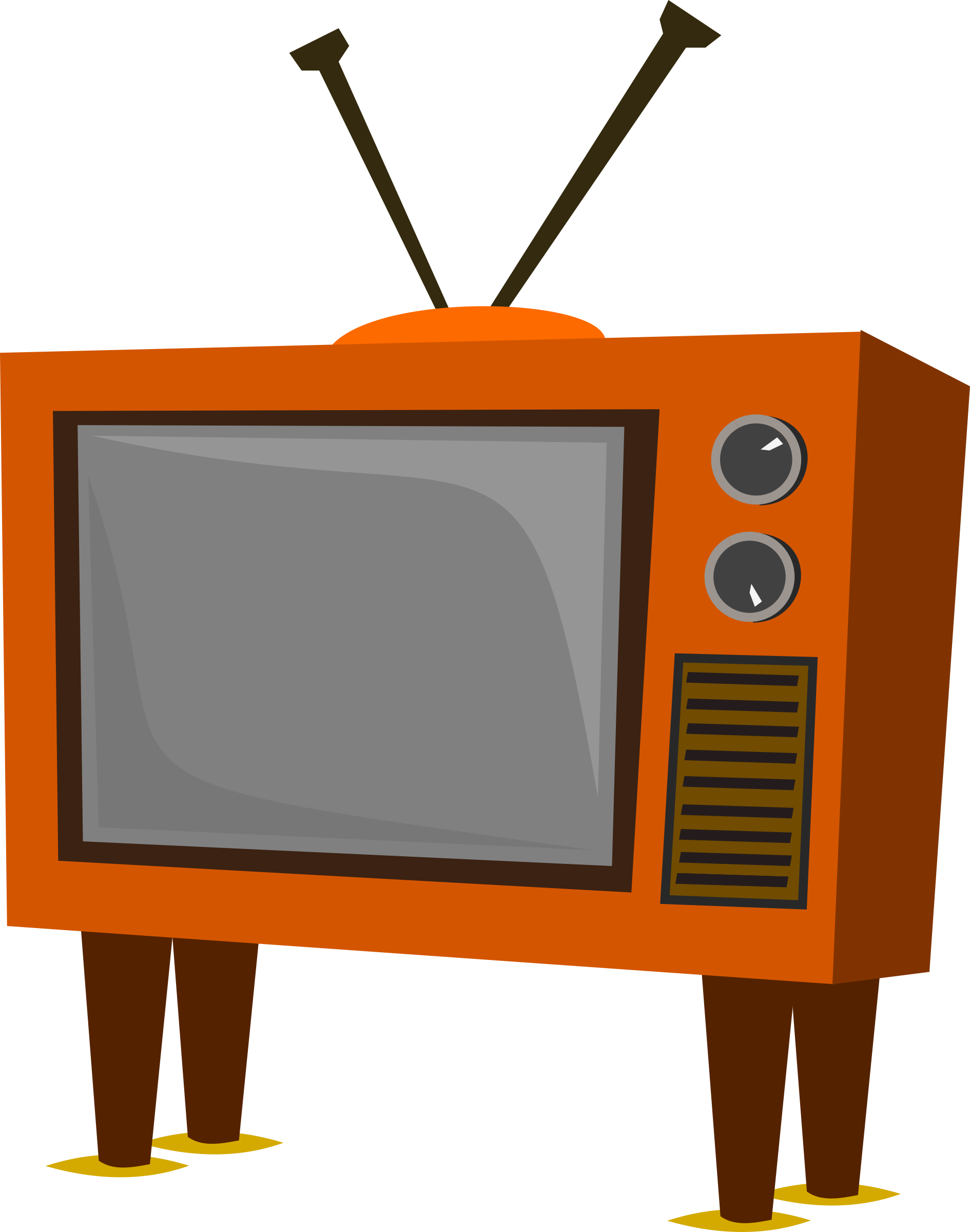 Television clipart png. Funky old tv big