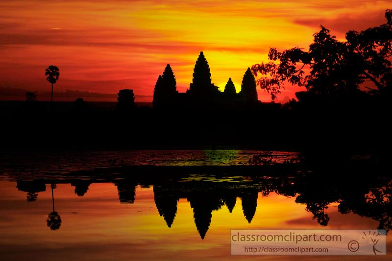 Temple clipart cambodian temple. Scenery sunset angor wat