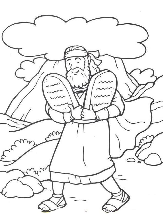 Ten commandments clipart kid coloring page. Moses and the