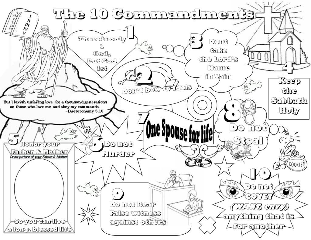 Ten commandments clipart kid coloring page. Pages lesson kids for