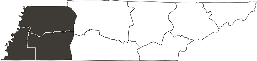 Tennessee drawing map. Travel and discover west