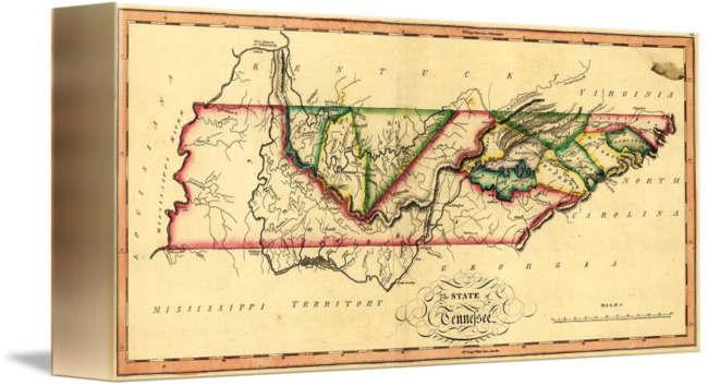 Tennessee drawing map. State of by