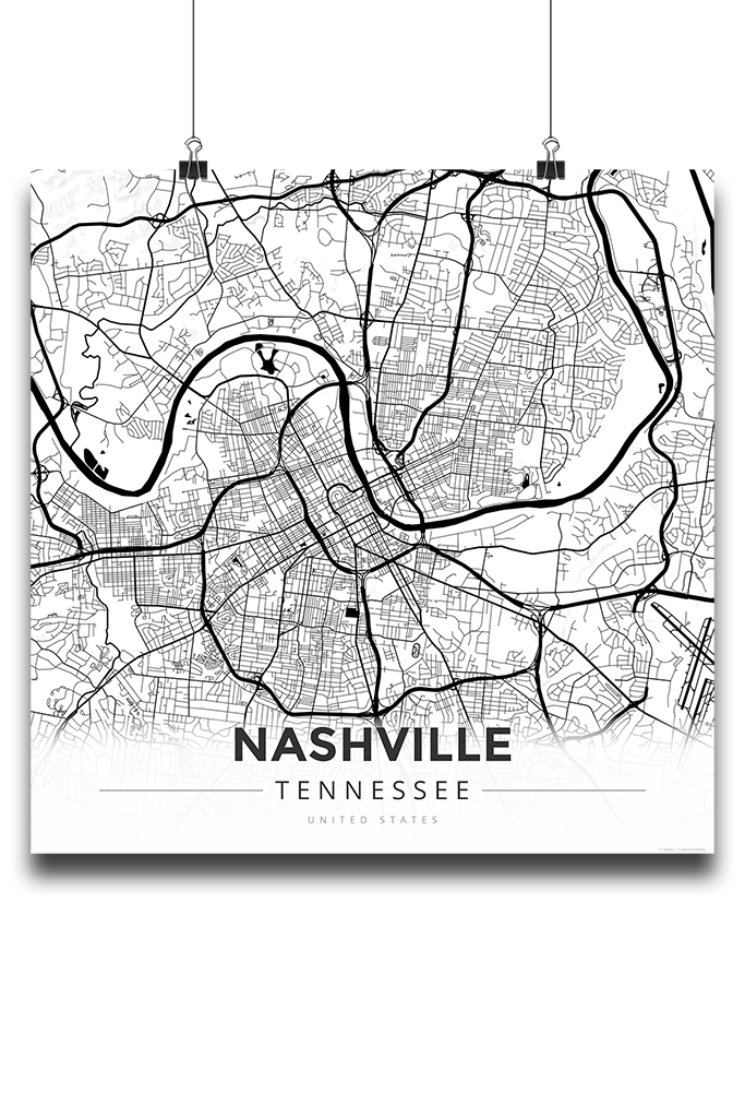 Tennessee drawing map. Premium poster of nashville