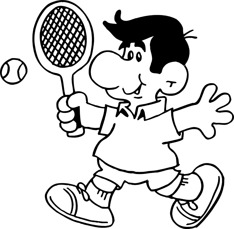 Drawing sports tennis. Free black cliparts download