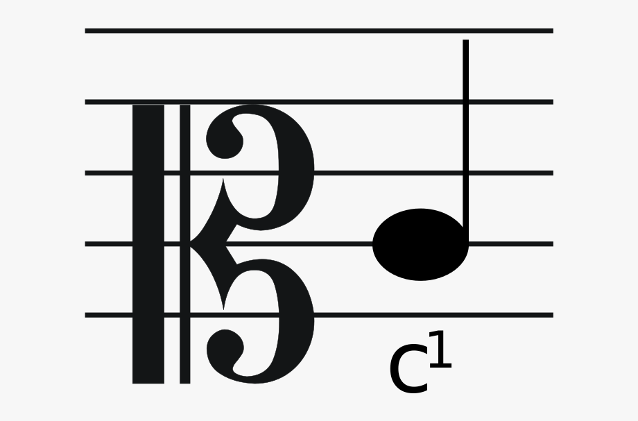 Tenor clef. Picture of quarter note