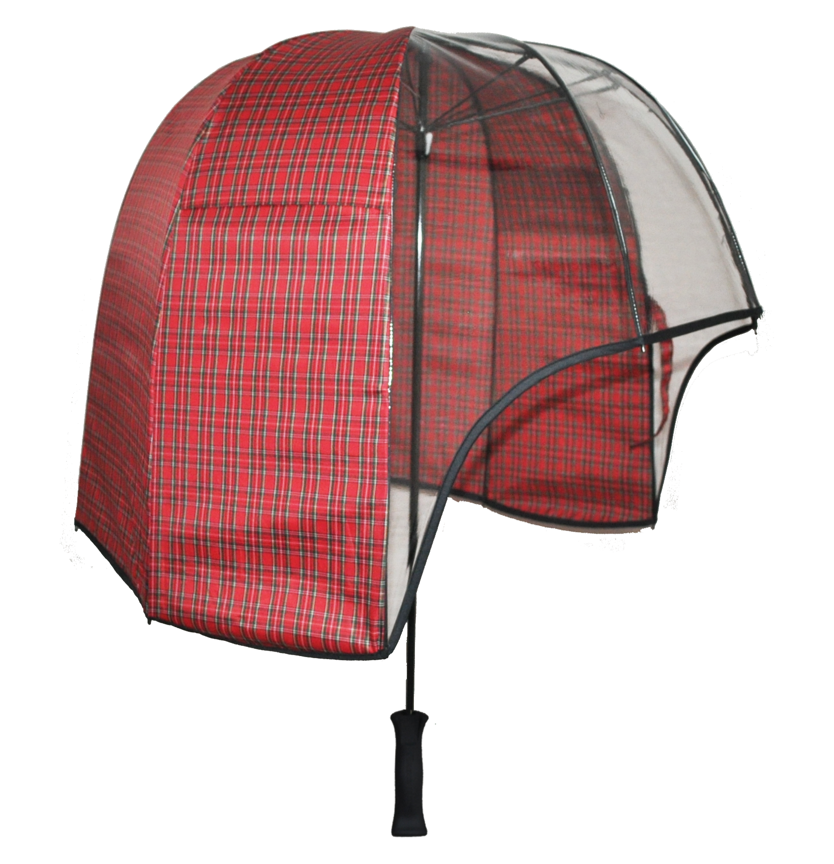Tent transparent clear dome. Panoramic windproof umbrella red