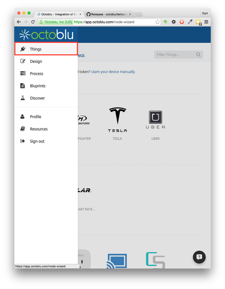 Tentacle png token. Code free iot with
