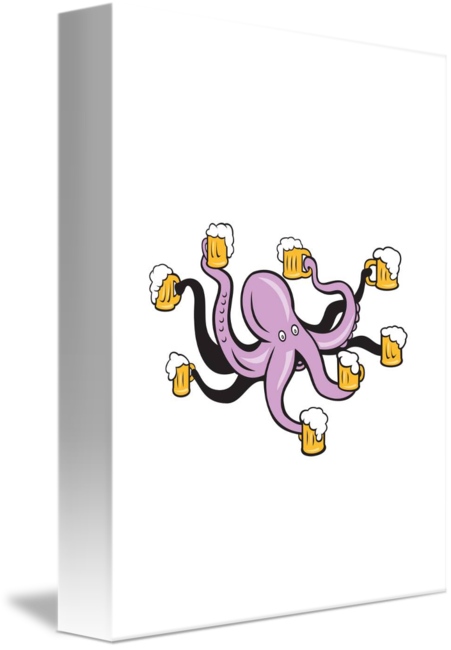 Tentacles holding png. Octopus mug of beer