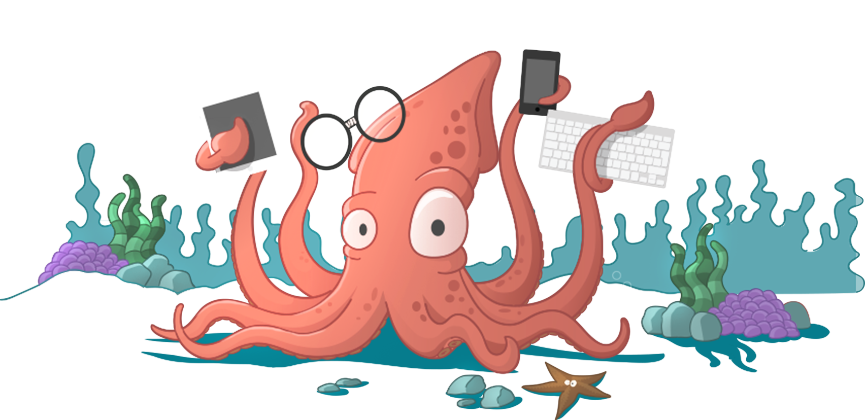 Tentacles holding png. A cartoon squid tablet
