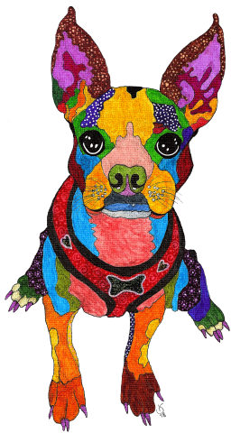 Terrier drawing ink. Whimsical and colorful alcohol