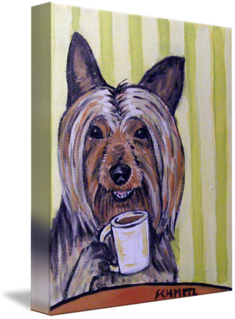 Terrier drawing silky. At the coffee shop