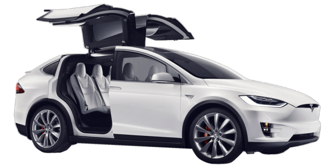 Tesla model x png. In white with doors