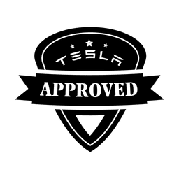 Red car with logo. Tesla vector illustration picture library stock