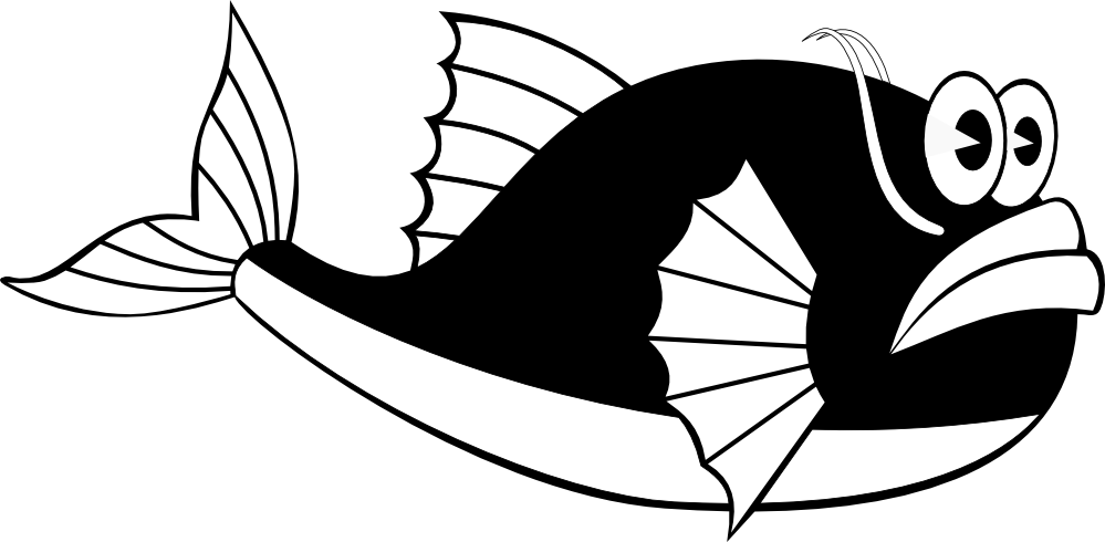 Narwhal svg black and white. Free fish vector art