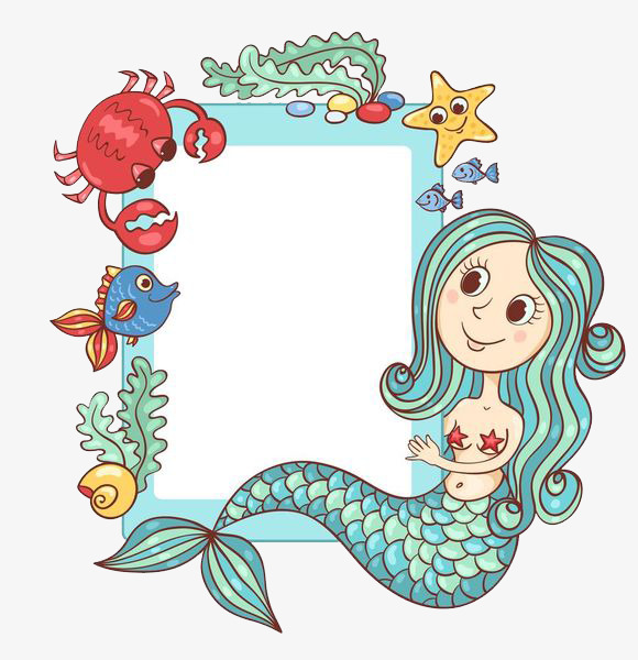 Text clipart text box. The mermaid next to