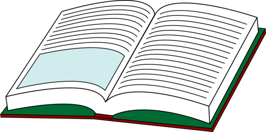Text clipart opened book. Textbook