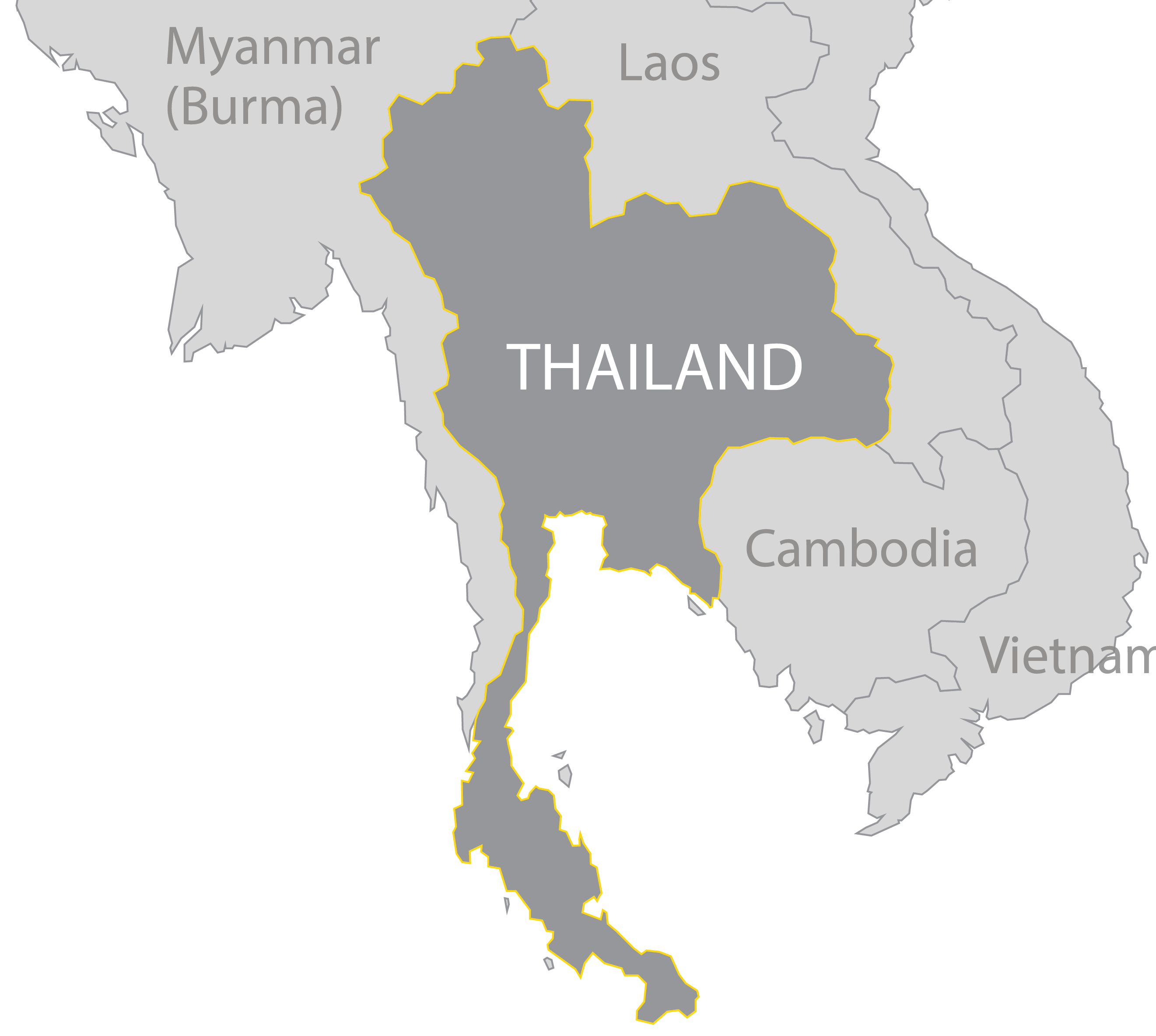 Thailand map png. Destinations walking tree travel