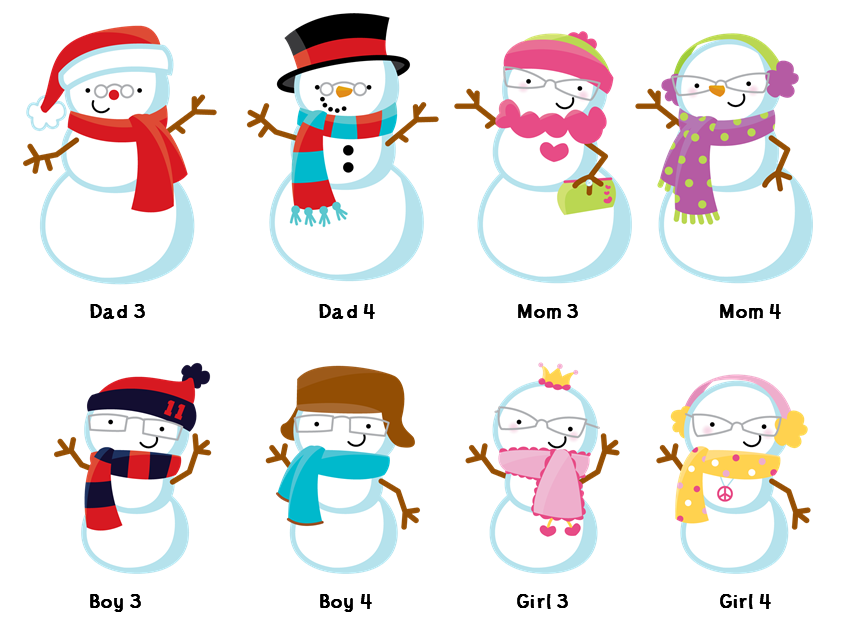 Thank clipart a million. Snowman family with snowflakes