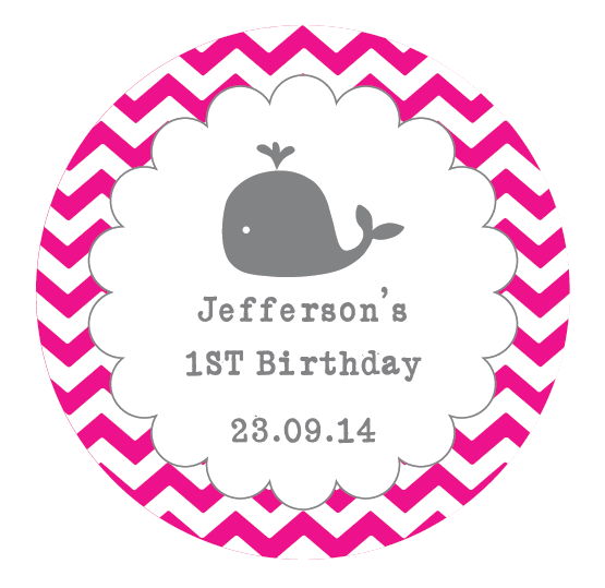 Thank you labels for birthday party png. Whale scalloped border chevron