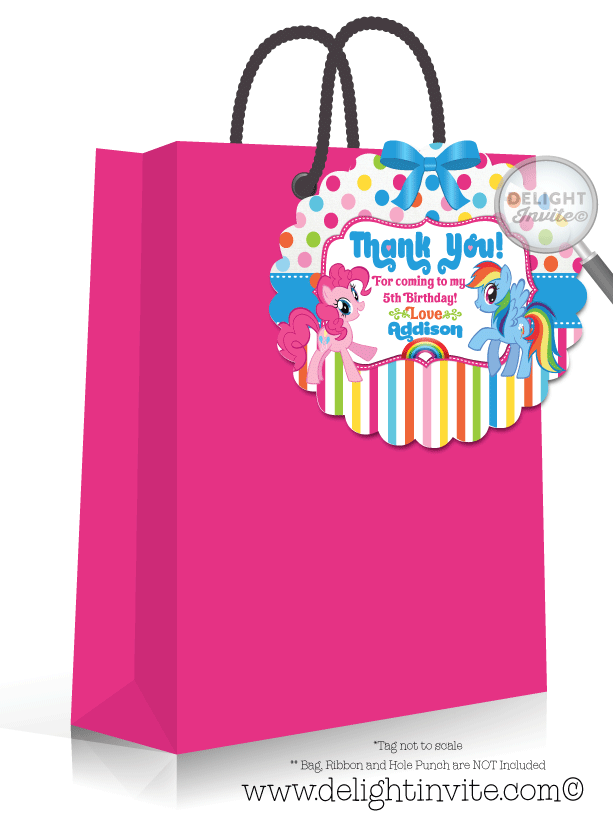 Thank you labels for birthday party png. My little pony favor