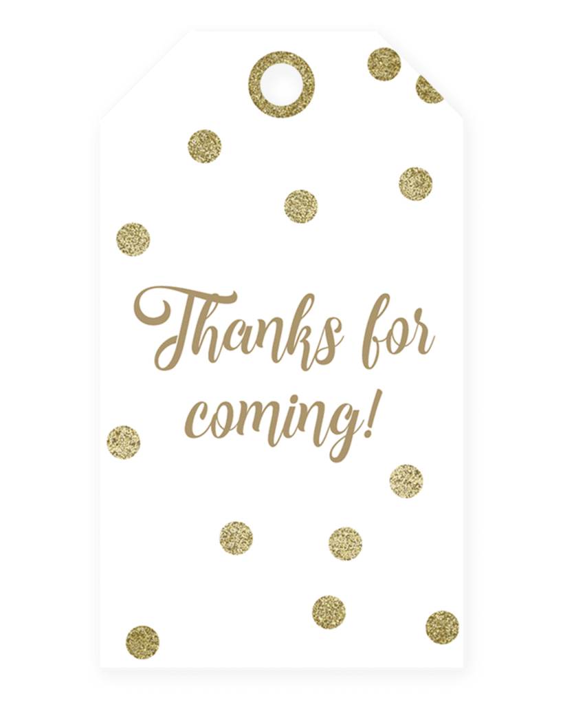 Thank you printable labels png. Gold party tags instant