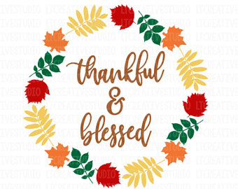Thankful clipart thanksgiving. Grateful blessed svg fall