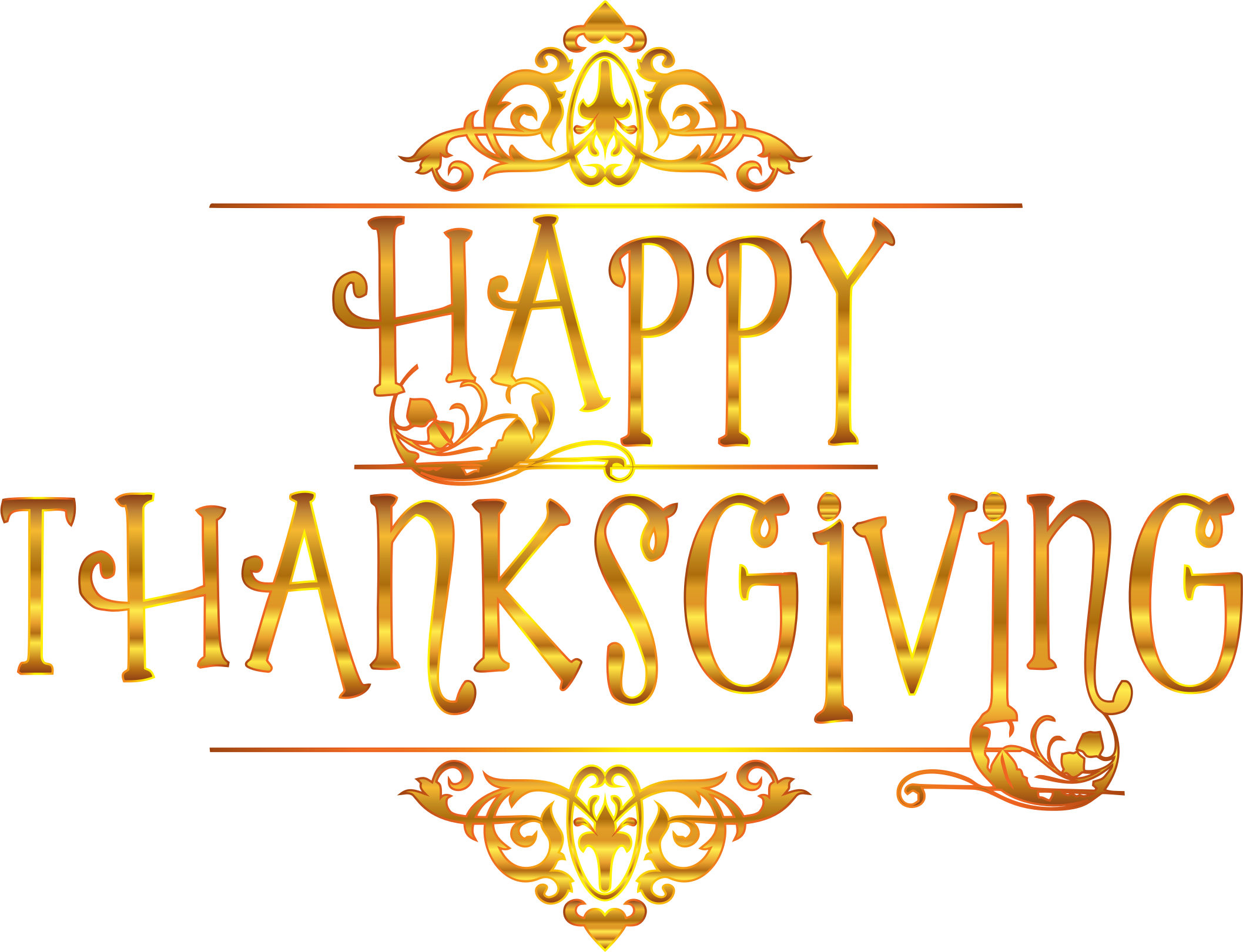 Thanksgiving background png. Gold happy typography variation