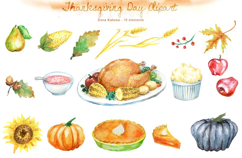 Watercolor clipart thanksgiving. Day