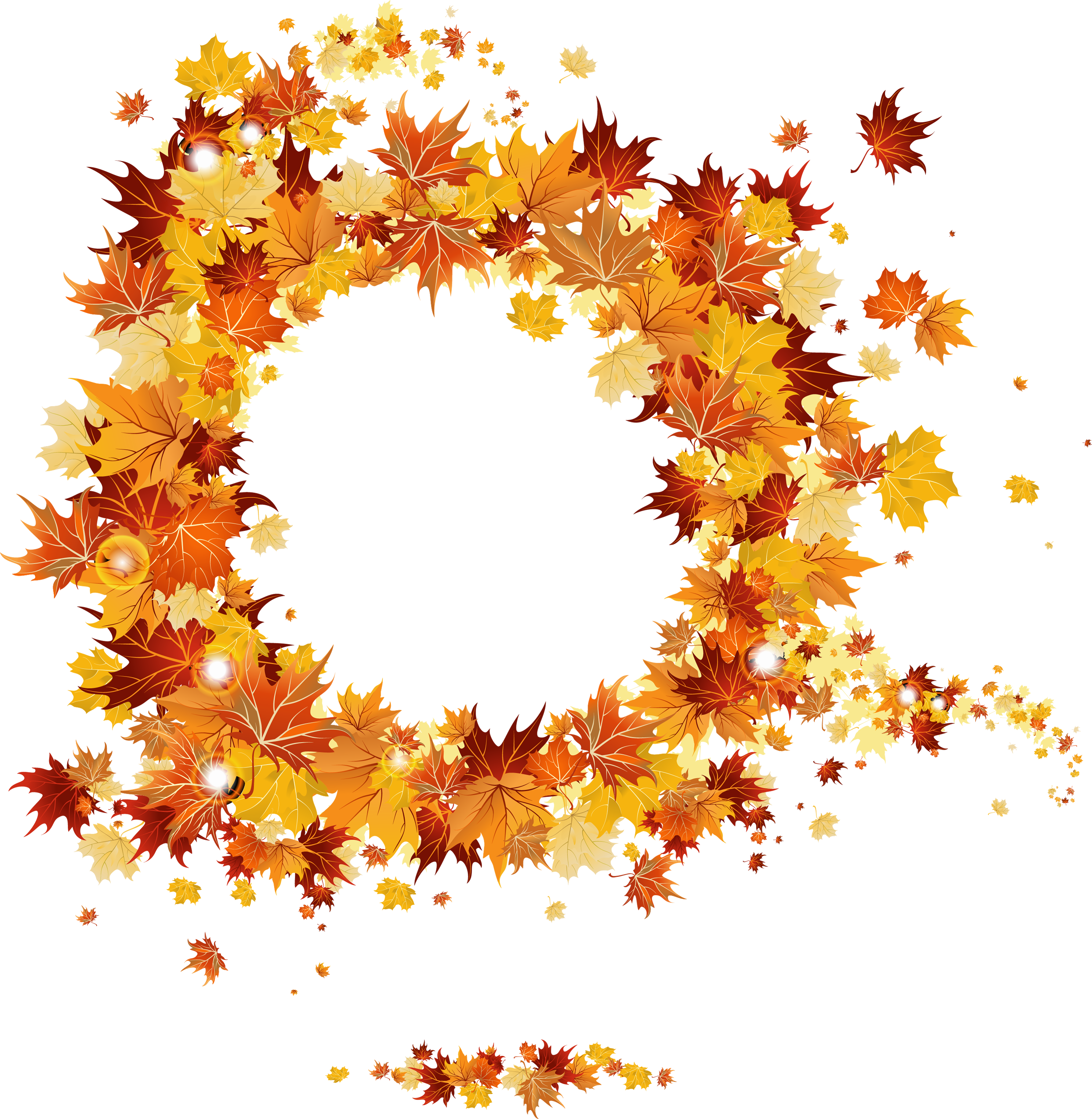 Fall png images. Round vector frame gallery