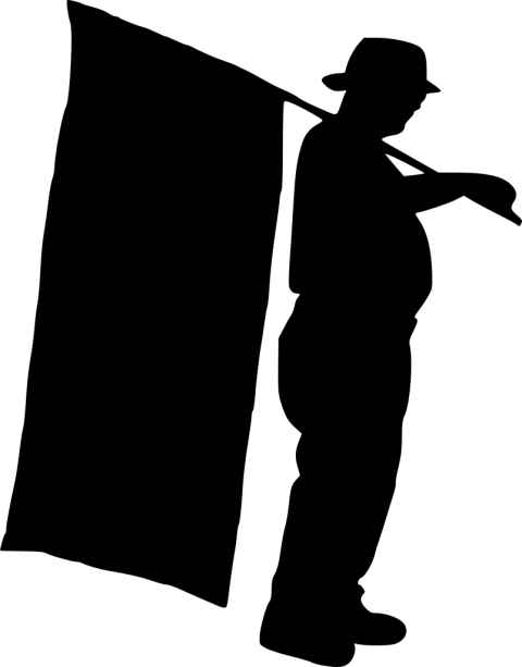 Thanos clipart silhouette. Person with flag png