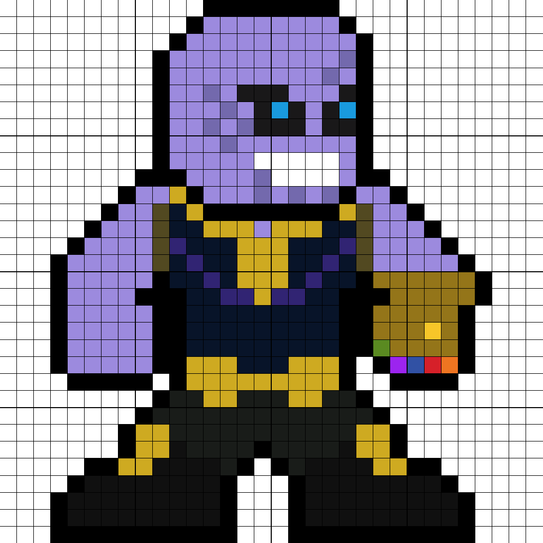 Thanos png pixel. Perler bead pattern marvel