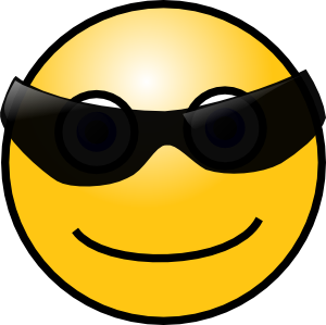Sunglass svg emoticon. Cool smiley clipart