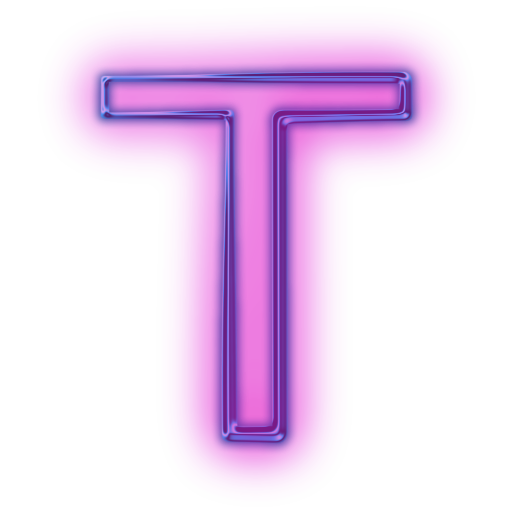 T transparent neon. Download png icons letter