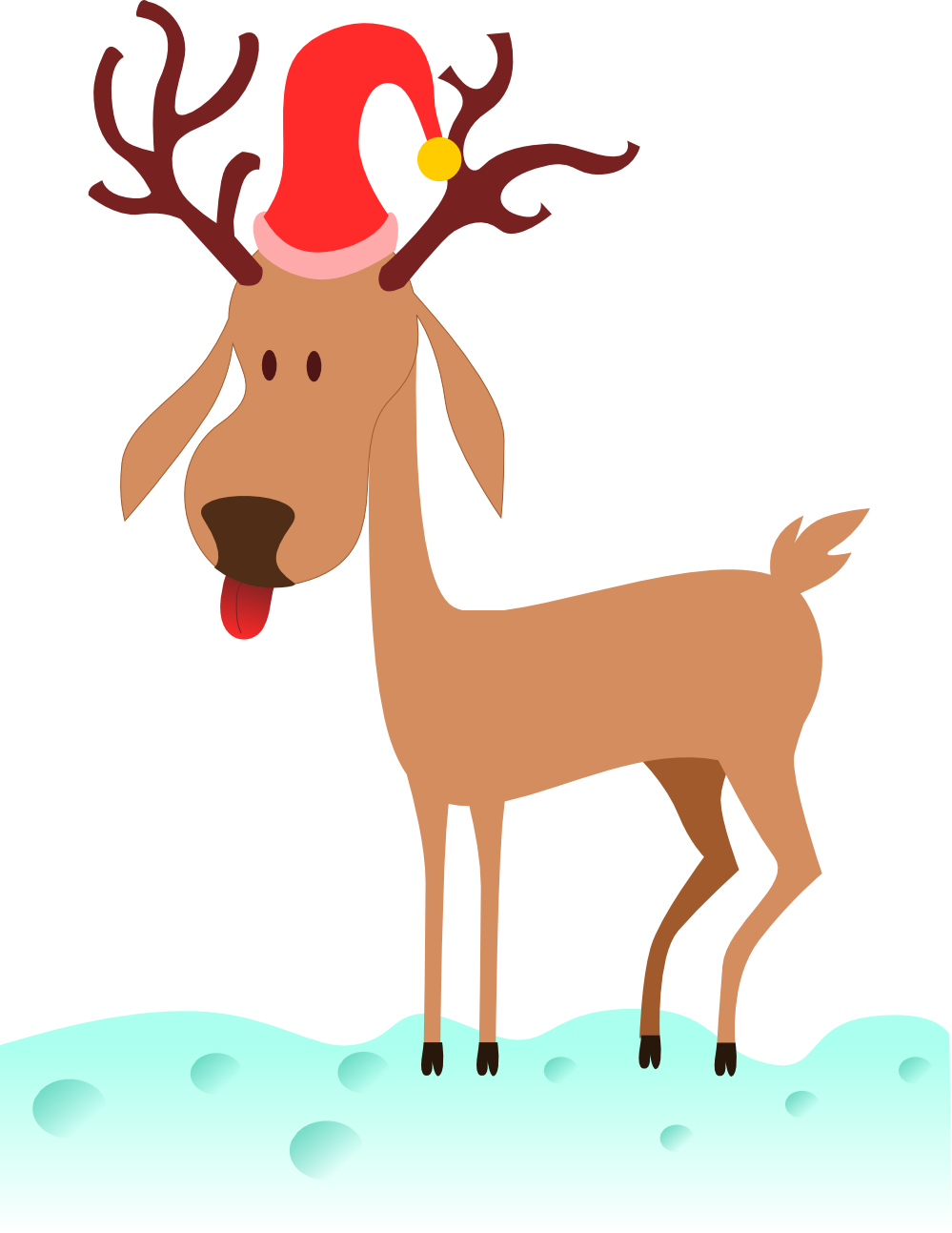 Rudolph vector red nose. Free the nosed reindeer