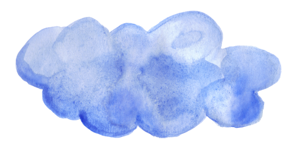 The transparent watercolor. Blue clouds png