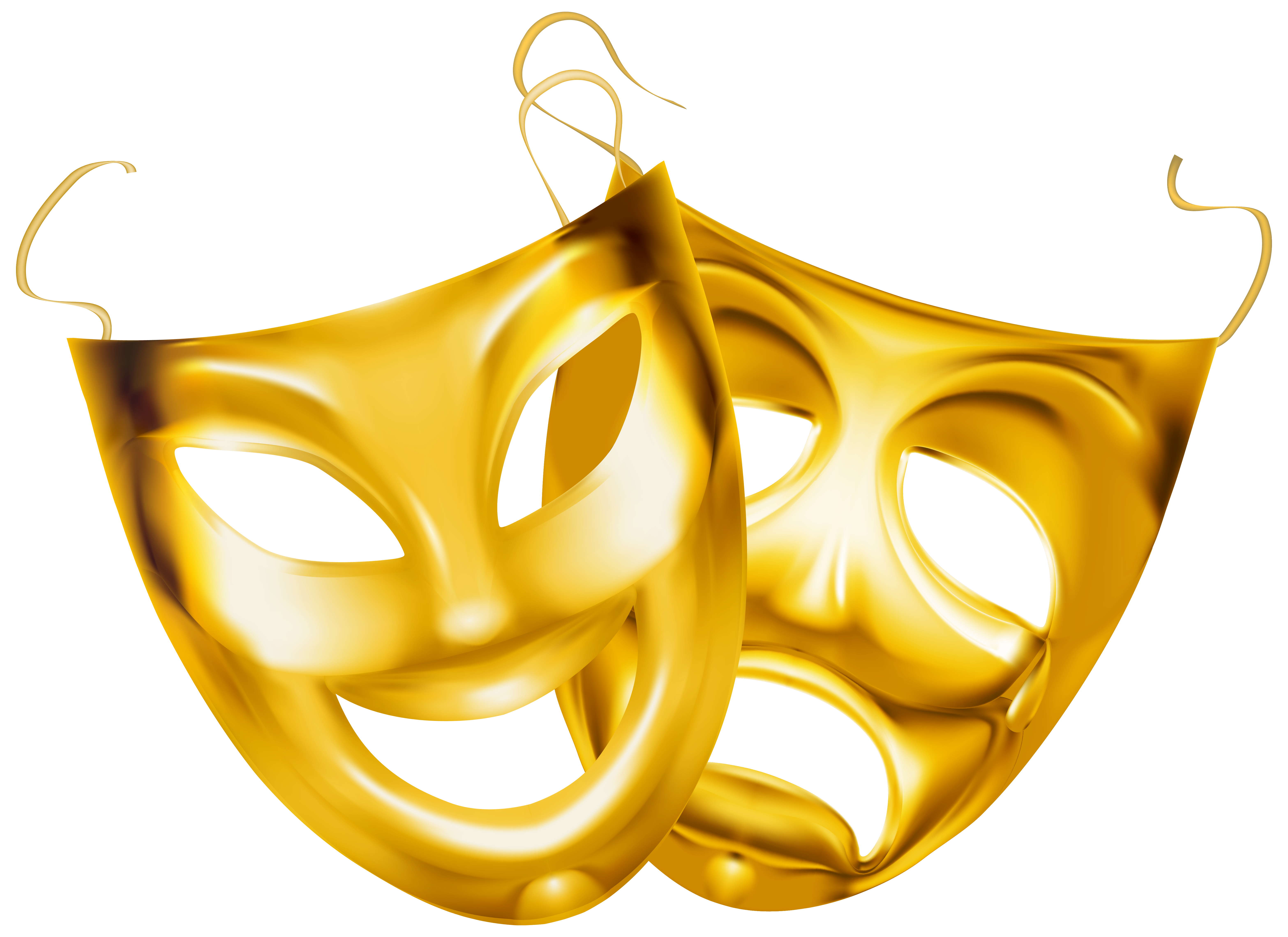Theater mask png. Gold masks clipart image