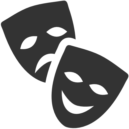 Masks teatr icon free. Theater vector black mask banner black and white library