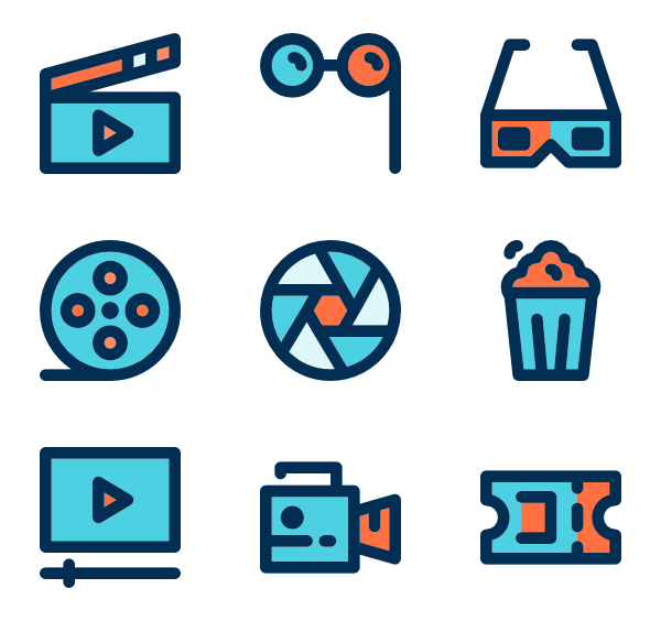 Theater vector entertainment. Movie icon packs