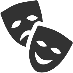 Theatre masks icon download. Theater vector theatrical mask banner black and white