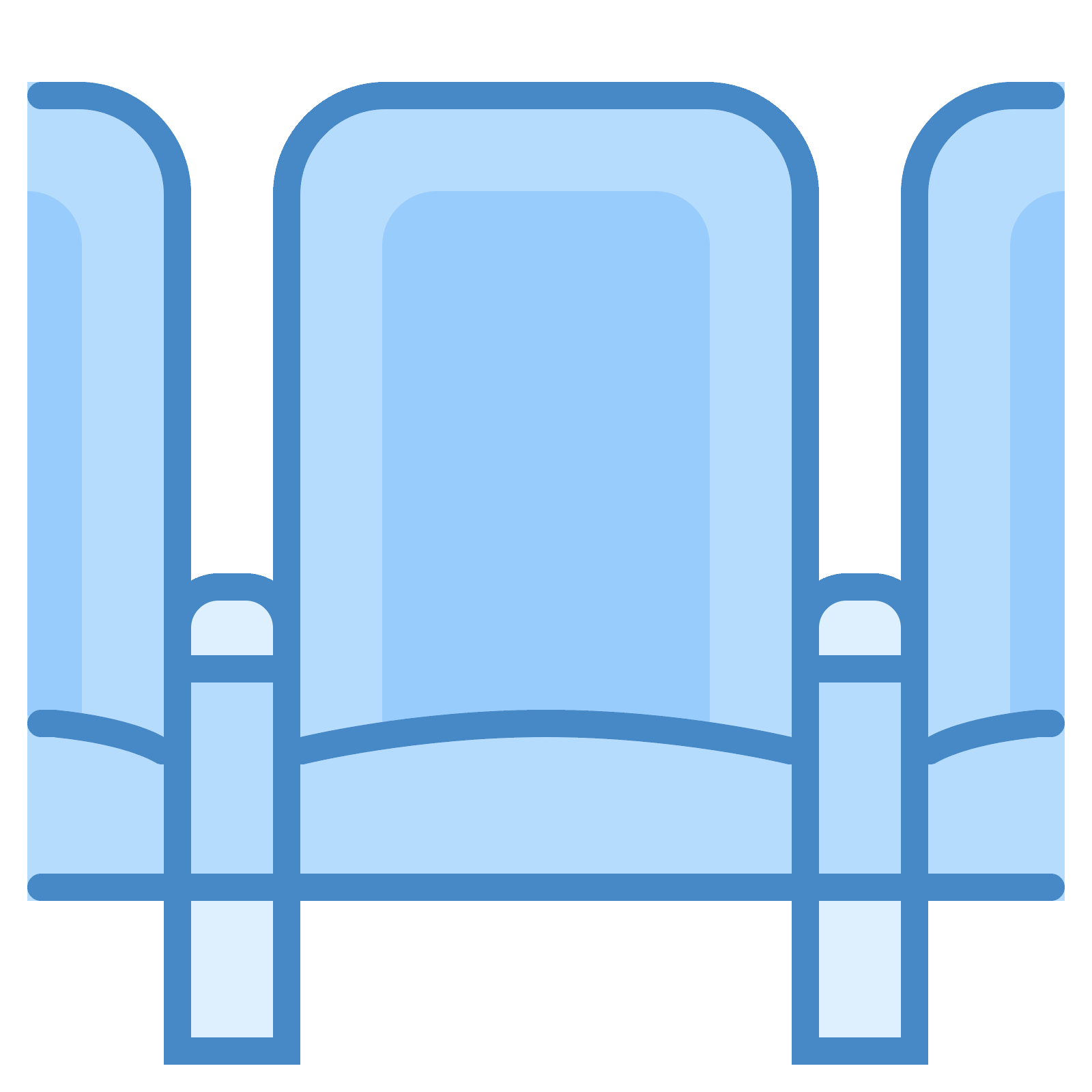 Vector chair row. Theatre seats icon free