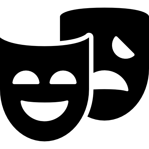 Theater vector theatrical mask. Masks couple icons free